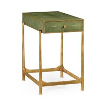 Green Faux Shagreen Gilded Side Table