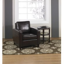 Ave Six Venus Club Chair In Environmentally Friendly Espresso Bonded Leather & Solid Wood Legs
