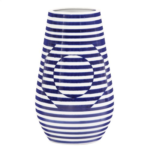 Optical Illusion Blue and White Striped Ceramic Vase, Large