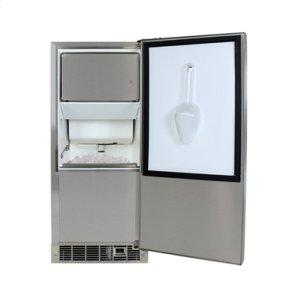 """Marvel 15"""" Outdoor Clear Ice Machine - Solid Stainless Steel Door - Right Hinge"""