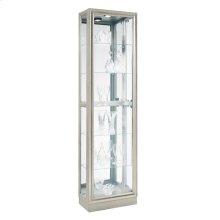 Side Entry 5 Shelf Curio Cabinet in Platinum Silver
