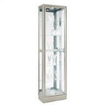 Side Entry 5 Shelf Curio Cabinet in Platinum Silver