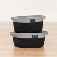 Knit Baskets, 2-Pack - Gray and Black