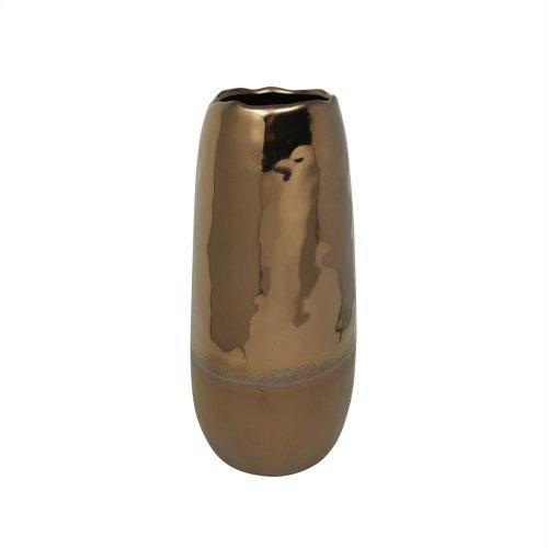 """Ceramic Vase 13.25"""", 2 Tone Bronze"""