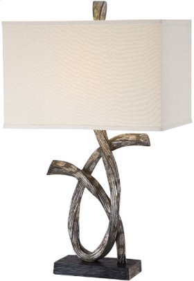 Table Lamp, Aged Silver/fabric Shade, E27 Type A 150w