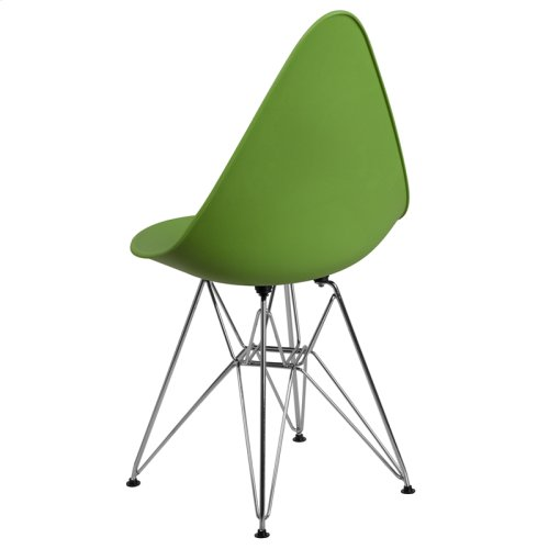 Allegra Series Teardrop Green Plastic Chair with Chrome Base