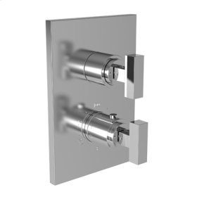 "Satin Brass - PVD 1/2"" Square Thermostatic Trim Plate with Handle"