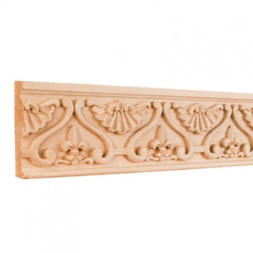 """4"""" x 7/8"""" x 96"""" Hand Carved Fleur-de-Lis Frieze Moulding. e Hardware Resources, Inc. Species: Alder. Priced by the linear foot and sold in 8' sticks in cartons of 80'."""