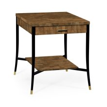 Brown Brick Eggshell End Table with Drawer