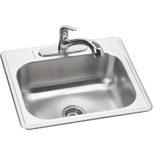 """Dayton Stainless Steel 25"""" x 22"""" x 8-1/16"""", Single Bowl Drop-in Sink and Faucet Kit"""