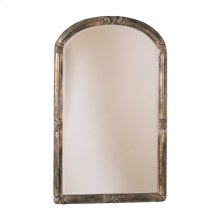ARCHED MIRROR WITH SCROLLS AND LEAVES, SILVER FINISH WITH GO LD WASH AND BLACK ACCENTS
