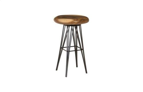 Chamcha Wood Bar Stool, Swivel Seat, Four Metal Legs