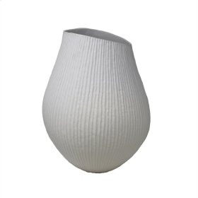Matte White Ribbed Vase 15""
