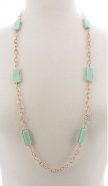 BTQ Faceted Light Green Stone Necklace
