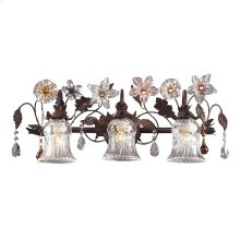 Cristallo Fiore Collection 3-Light Vanity Bar in Deep Rust with Drops of Amber A