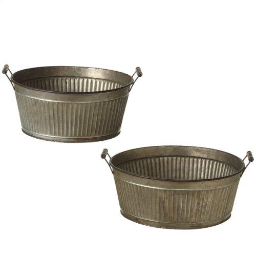 Galvanized Ribbed Washtub Planters (2 pc. set)
