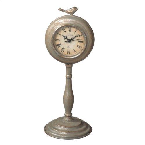 Antique Silver Bird Desk Clock on Stand