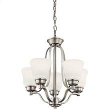 Langford 5 Light Mini Chandelier with LED Bulbs Brushed Nickel