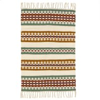 Green, Rust, & Mustard Woven 2'x3' Rug. Product Image