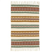 Green, Rust, & Mustard Woven 2'x3' Rug.