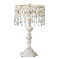 White with Gold Brush Filagree Beaded 2-Light Table Lamp. 25W Max. Product Image