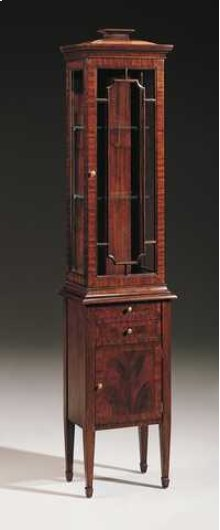 HAND CARVED MAHOGANY DISPLAY C ABINET WITH GLAZED DOORS