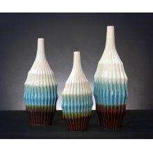 Cream, Turquoise, & Brown Ceramic Vase Set
