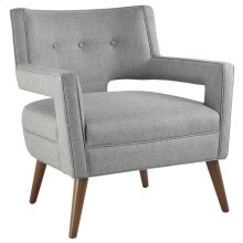 Sheer Upholstered Fabric Armchair in Light Gray