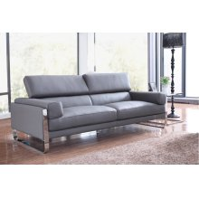 Divani Casa Prim Modern Grey Leather Sofa Set