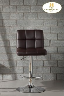 Brown Bonded Leather Airlift Swivel Stool