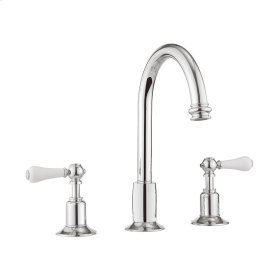 Belgravia White Lever Tall Spout Widespread Lavatory Faucet - Polished Chrome