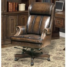 DC#105 Black Brown Wipe Leather Desk Chair