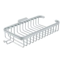 """Wire Basket, 10-3/8"""" Rectangular, Shallow, With Hook - Polished Chrome"""