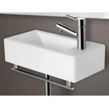 AB108 Small White Modern Rectangular Wall Mounted Ceramic Bathroom Sink Basin