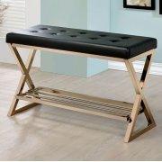 Keri Bench W/ Gold Legs, Black Product Image