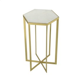 Halter Gold Plated Metal Accent Table with Genuine White Marble Top