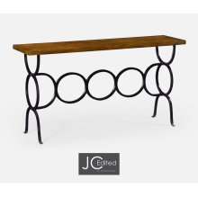 Country Walnut Console with Circular Wrought Iron Base