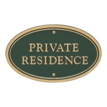 Private Residence Oval Wall/Lawn Statement Plaque - Green/Gold