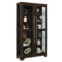 Double Door 5 Shelf Curio Cabinet in Oak Brown Product Image
