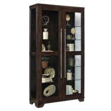 Double Door 5 Shelf Curio Cabinet in Oak Brown