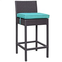 Convene Outdoor Patio Upholstered Fabric Bar Stool in Espresso Turquoise