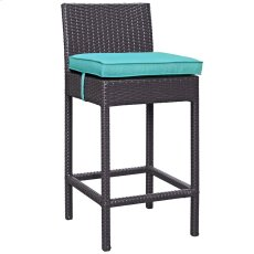 Convene Outdoor Patio Fabric Bar Stool in Espresso Turquoise Product Image