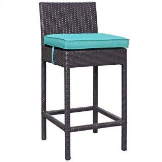 Convene Outdoor Patio Fabric Bar Stool in Espresso Turquoise