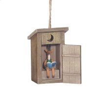 Outhouse with Deer Inside Ornament. Product Image