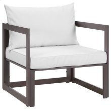 Fortuna Outdoor Patio Armchair in Brown White