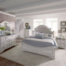 Queen Uph Bed, Dresser & Mirror, Chest, NS
