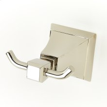 Double Robe Hook Leyden Series 14 Polished Nickel