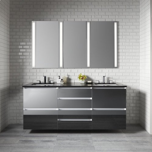 "Cartesian 24-1/8"" X 7-1/2"" X 18-3/4"" Slim Drawer Vanity In Tinted Gray Mirror With Slow-close Plumbing Drawer and Night Light In 5000k Temperature (cool Light)"