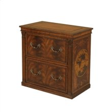 AGED REGENCY FINISHED PRINTER CABINET, AMBER GOLD LEATHER IN LAY, MARQUETRY ACCENTS