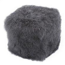 Lamb Fur Pouf Smoke